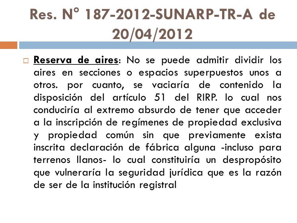 Res. N° 187-2012-SUNARP-TR-A de 20/04/2012 Reserva de aires: No se puede admitir dividir los aires en secciones o espacios superpuestos unos a otros.