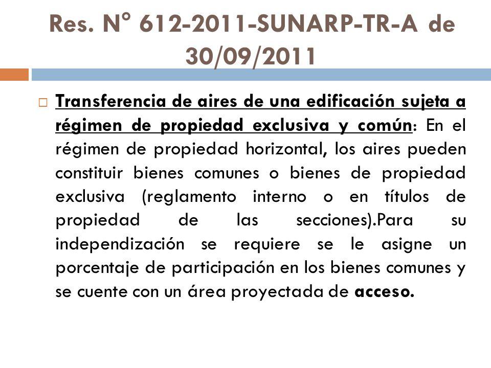 Res. N° 612-2011-SUNARP-TR-A de 30/09/2011 Transferencia de aires de una edificación sujeta a régimen de propiedad exclusiva y común: En el régimen de