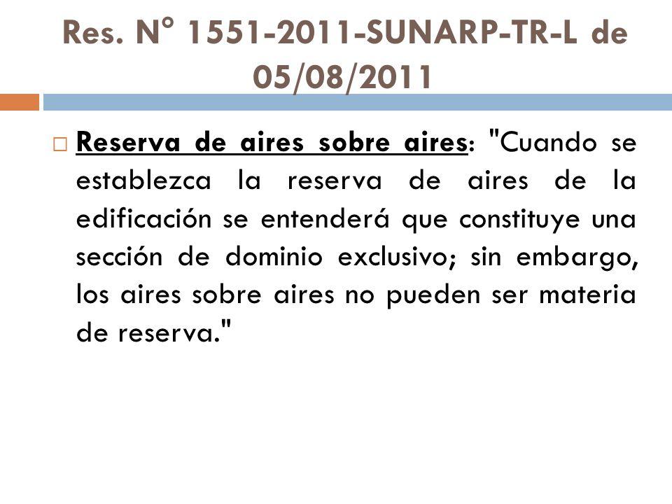 Res. N° 1551-2011-SUNARP-TR-L de 05/08/2011 Reserva de aires sobre aires: