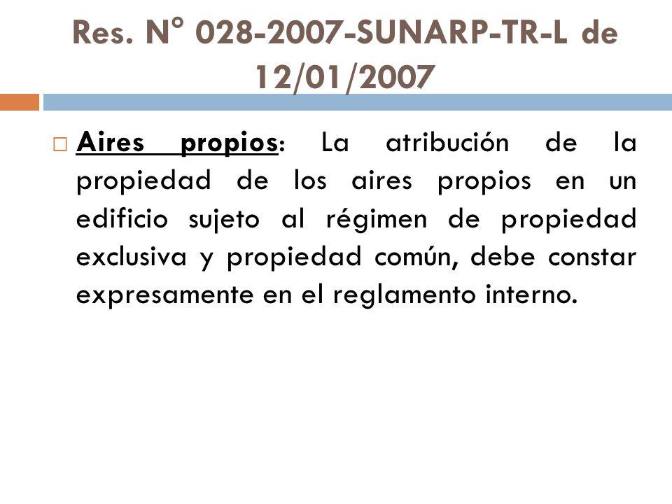 Res. N° 028-2007-SUNARP-TR-L de 12/01/2007 Aires propios: La atribución de la propiedad de los aires propios en un edificio sujeto al régimen de propi
