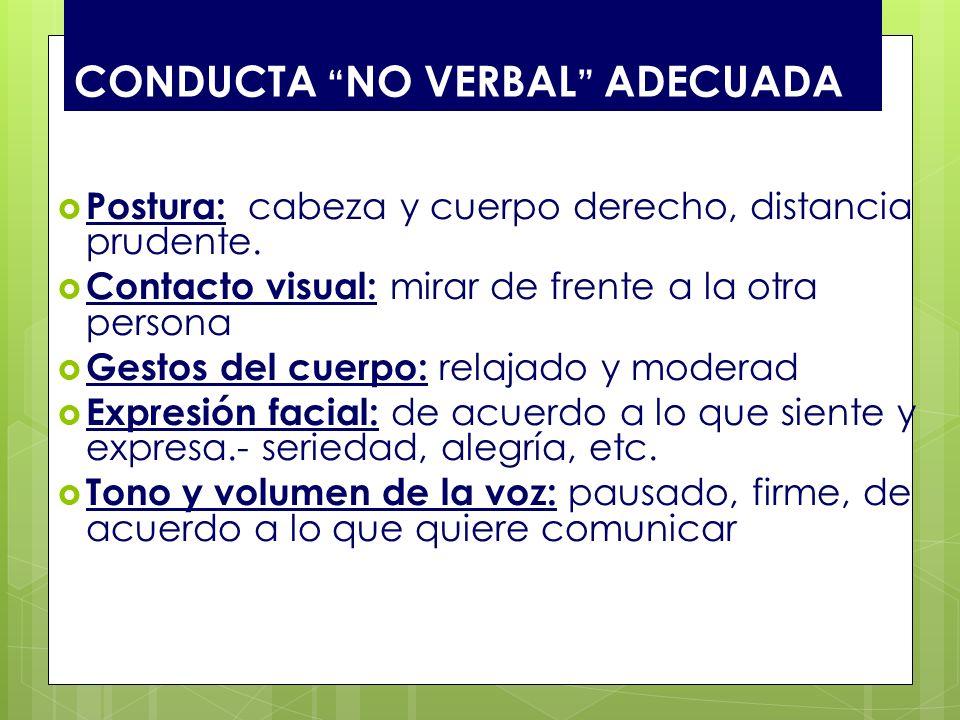 CONDUCTA NO VERBAL ADECUADA Postura: cabeza y cuerpo derecho, distancia prudente. Contacto visual: mirar de frente a la otra persona Gestos del cuerpo
