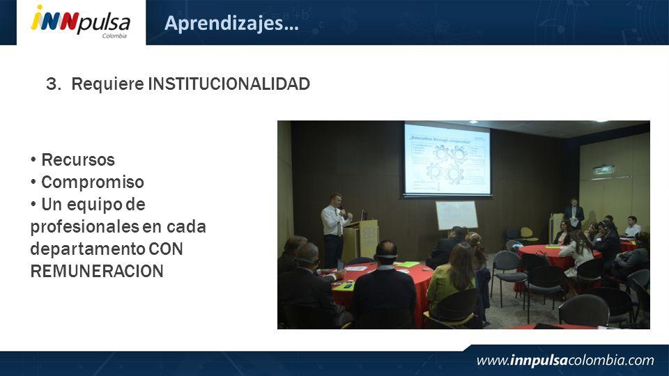 Aprendizajes… 3.Requiere INSTITUCIONALIDAD Recursos Compromiso Un equipo de profesionales en cada departamento CON REMUNERACION
