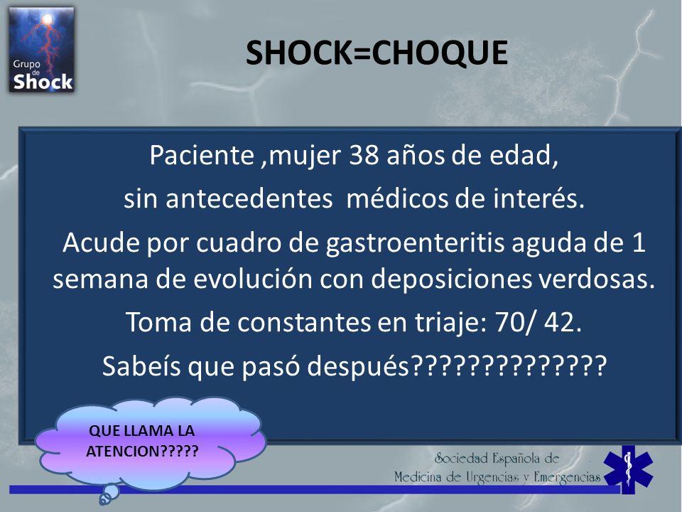 SHOCK=CHOQUE Paciente,mujer 38 años de edad, sin antecedentes médicos de interés. Acude por cuadro de gastroenteritis aguda de 1 semana de evolución c