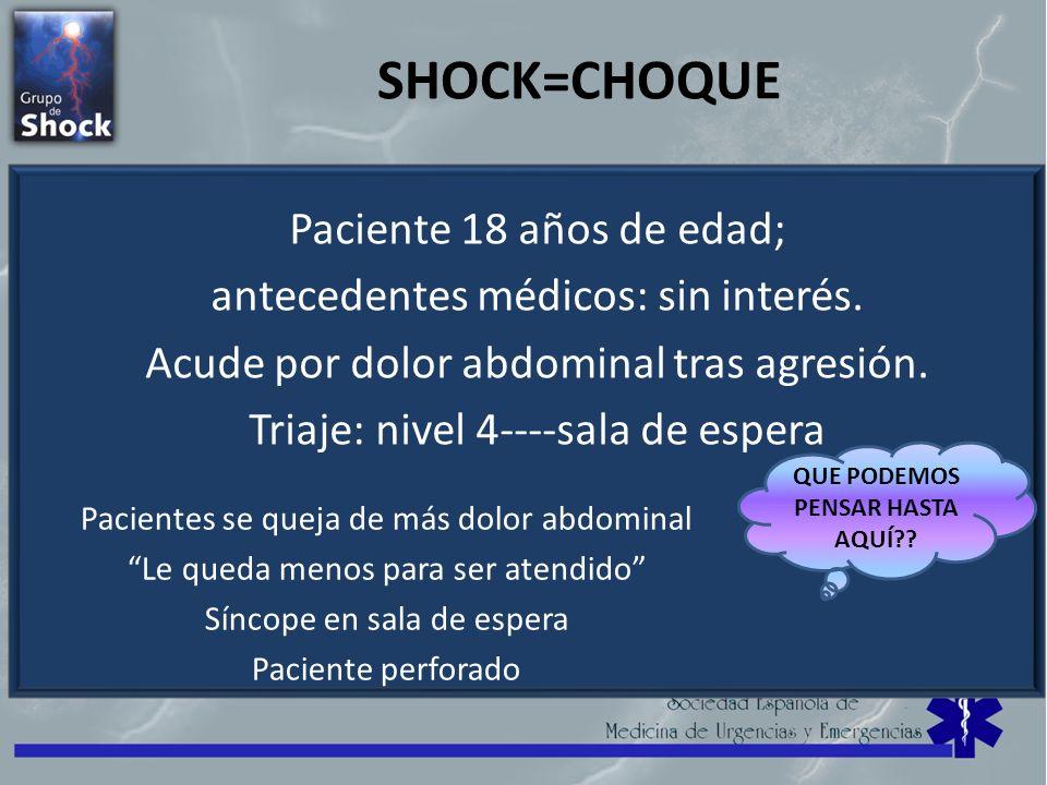 SHOCK=CHOQUE Paciente 18 años de edad; antecedentes médicos: sin interés. Acude por dolor abdominal tras agresión. Triaje: nivel 4----sala de espera P