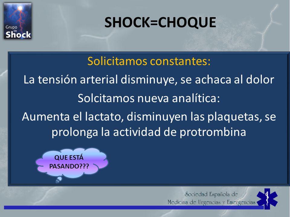 SHOCK=CHOQUE Solicitamos constantes: La tensión arterial disminuye, se achaca al dolor Solcitamos nueva analítica: Aumenta el lactato, disminuyen las