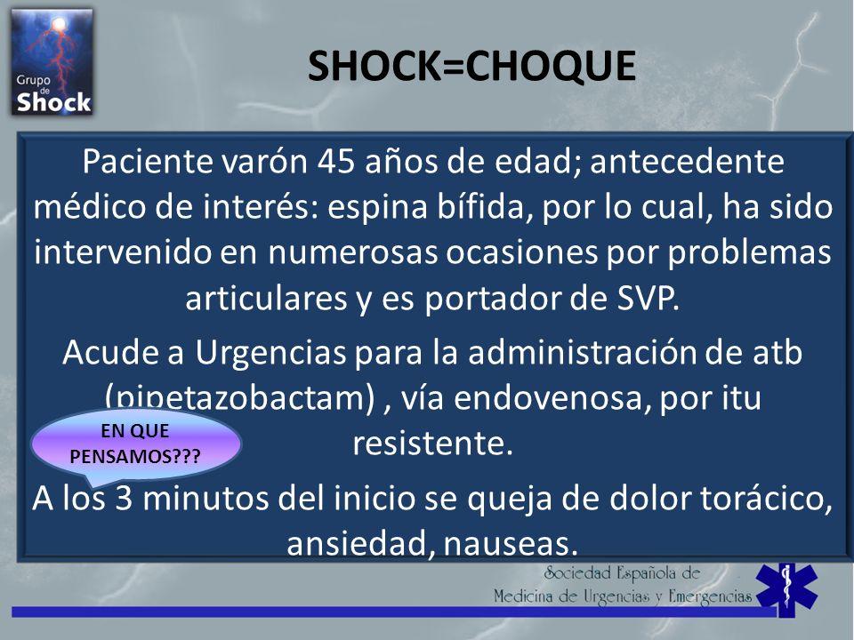 SHOCK=CHOQUE Paciente varón 45 años de edad; antecedente médico de interés: espina bífida, por lo cual, ha sido intervenido en numerosas ocasiones por