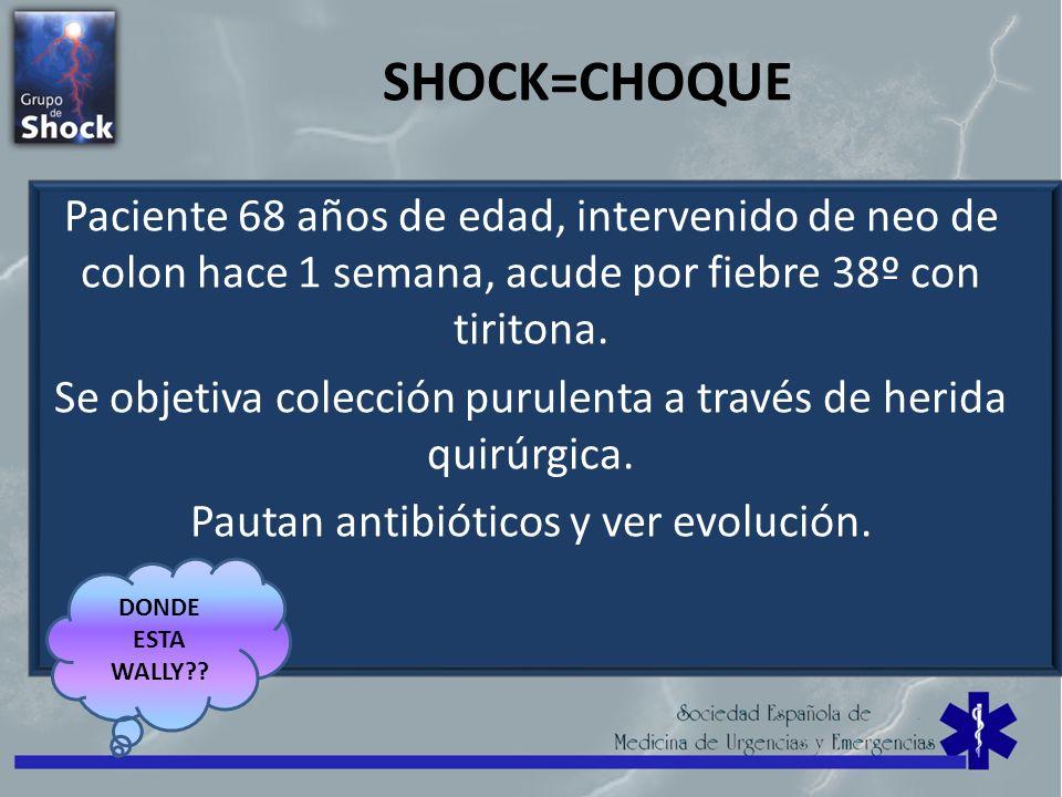 SHOCK=CHOQUE Paciente 68 años de edad, intervenido de neo de colon hace 1 semana, acude por fiebre 38º con tiritona. Se objetiva colección purulenta a