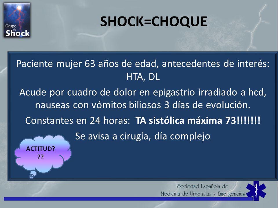 SHOCK=CHOQUE Paciente mujer 63 años de edad, antecedentes de interés: HTA, DL Acude por cuadro de dolor en epigastrio irradiado a hcd, nauseas con vóm