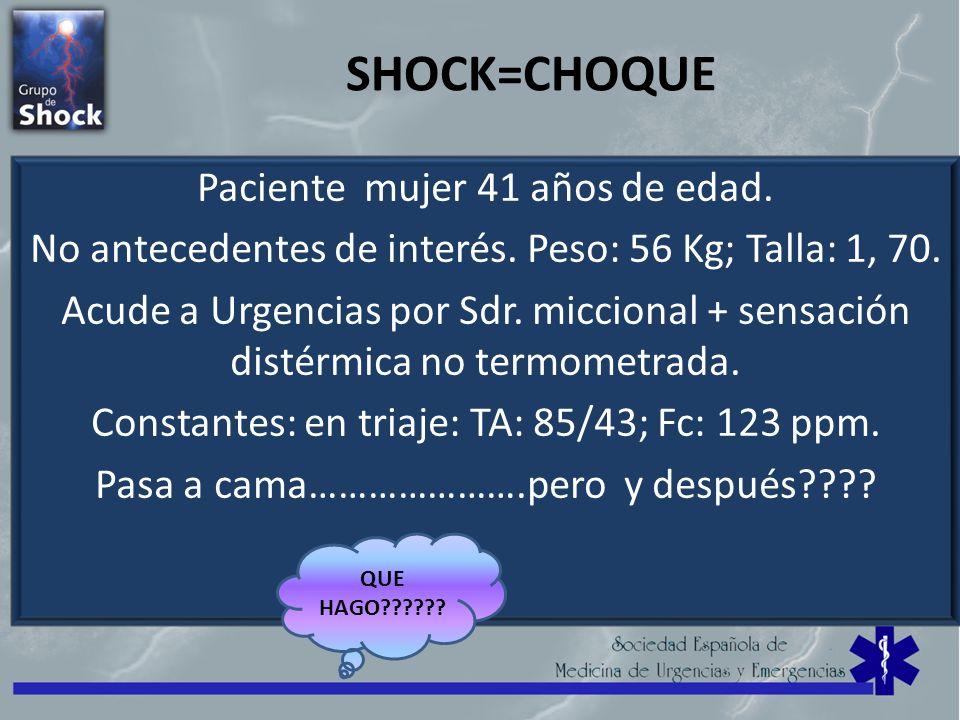 SHOCK=CHOQUE Paciente mujer 41 años de edad. No antecedentes de interés. Peso: 56 Kg; Talla: 1, 70. Acude a Urgencias por Sdr. miccional + sensación d