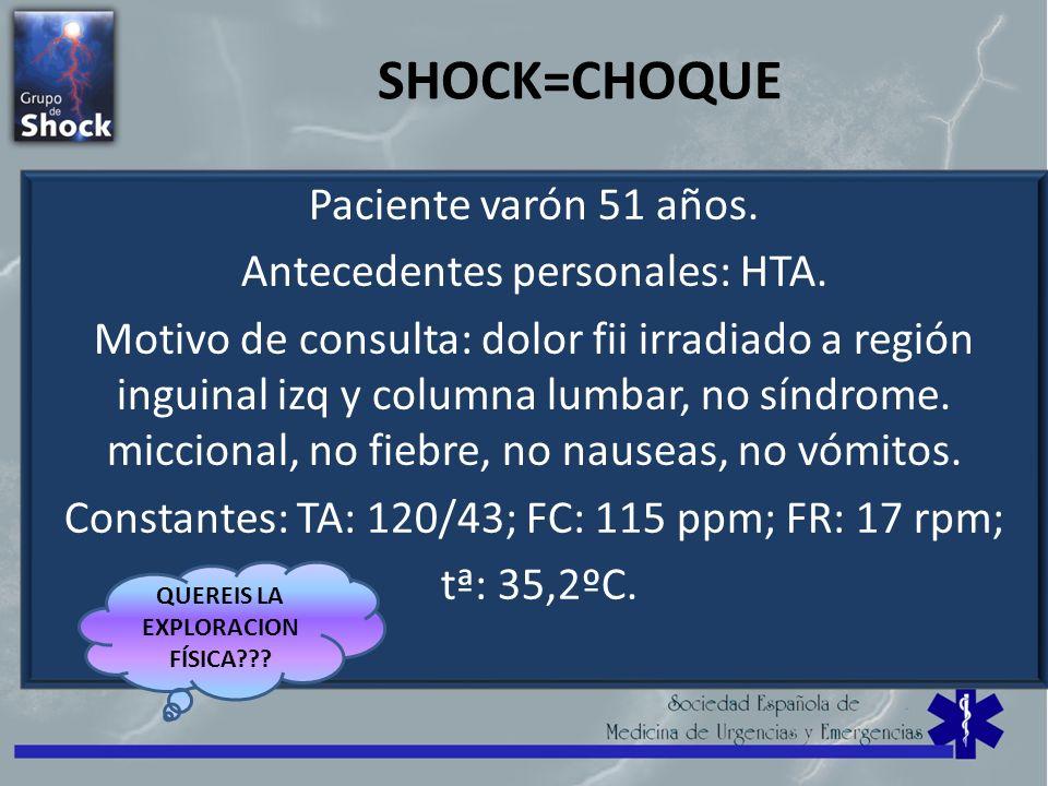 SHOCK=CHOQUE Paciente varón 51 años. Antecedentes personales: HTA. Motivo de consulta: dolor fii irradiado a región inguinal izq y columna lumbar, no