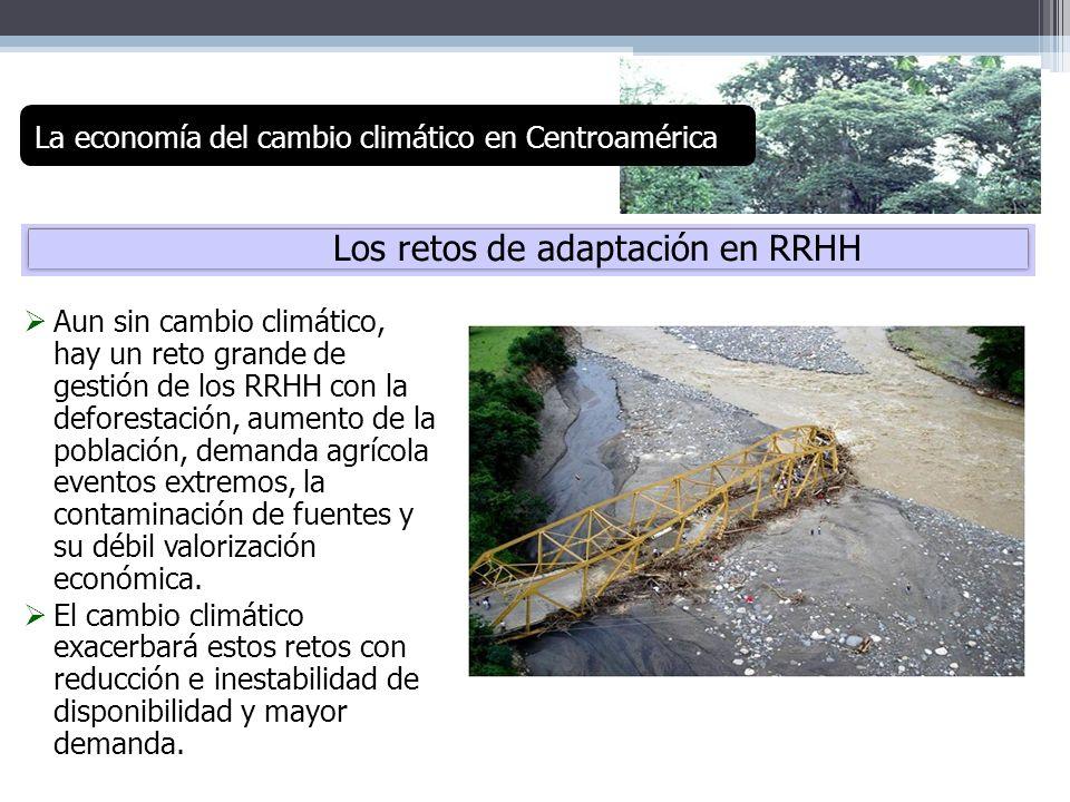 Los retos de adaptación en RRHH Aun sin cambio climático, hay un reto grande de gestión de los RRHH con la deforestación, aumento de la población, dem