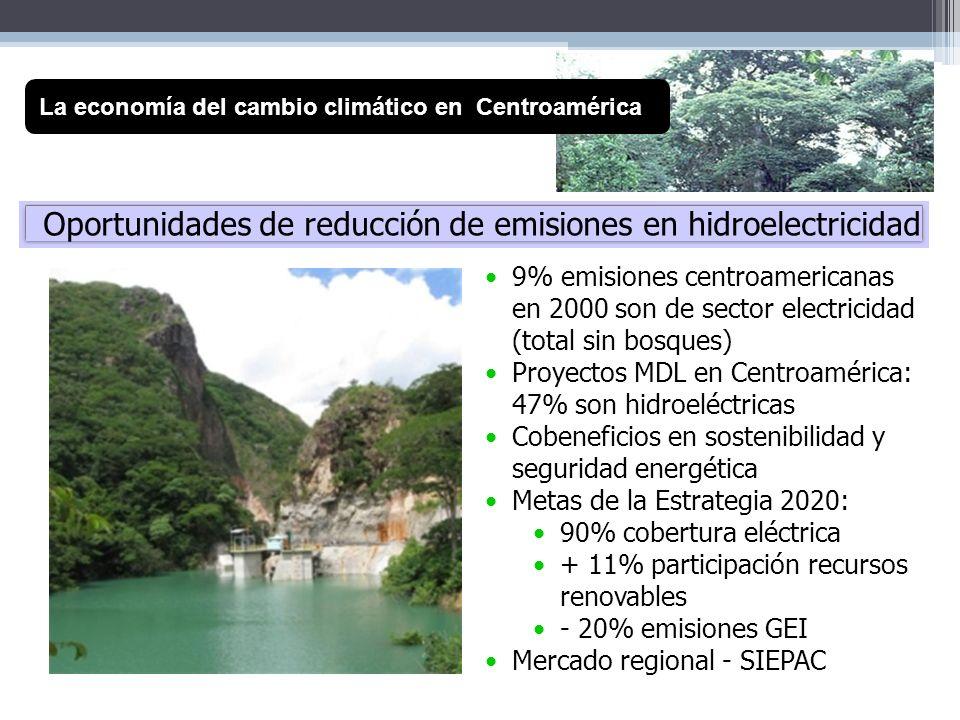 Oportunidades de reducción de emisiones en hidroelectricidad La economía del cambio climático en Centroamérica 9% emisiones centroamericanas en 2000 s