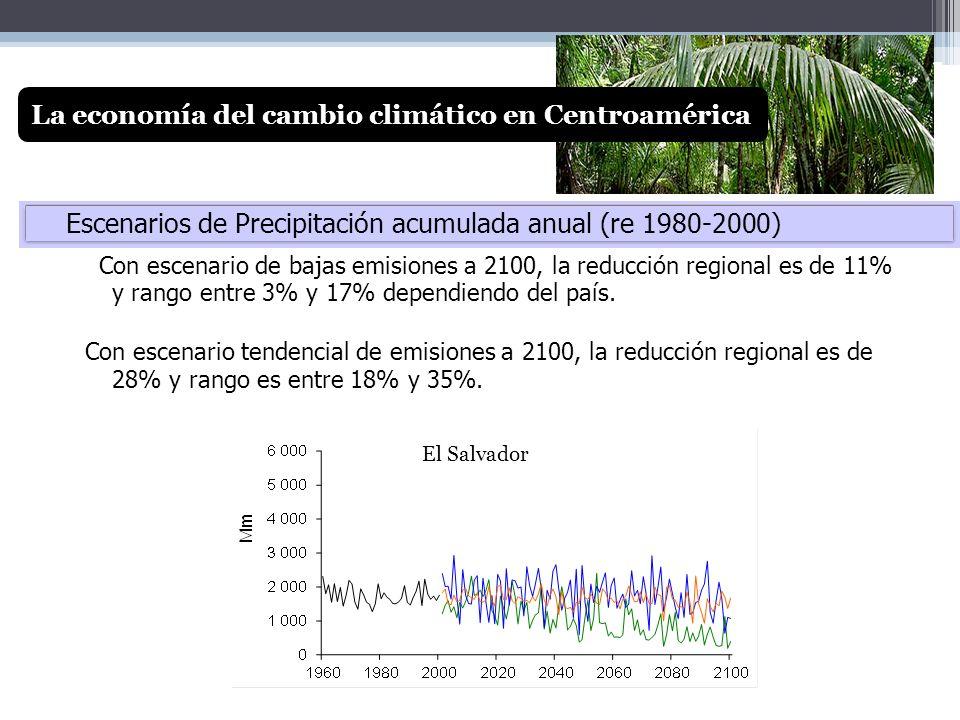 Con escenario de bajas emisiones a 2100, la reducción regional es de 11% y rango entre 3% y 17% dependiendo del país. Con escenario tendencial de emis