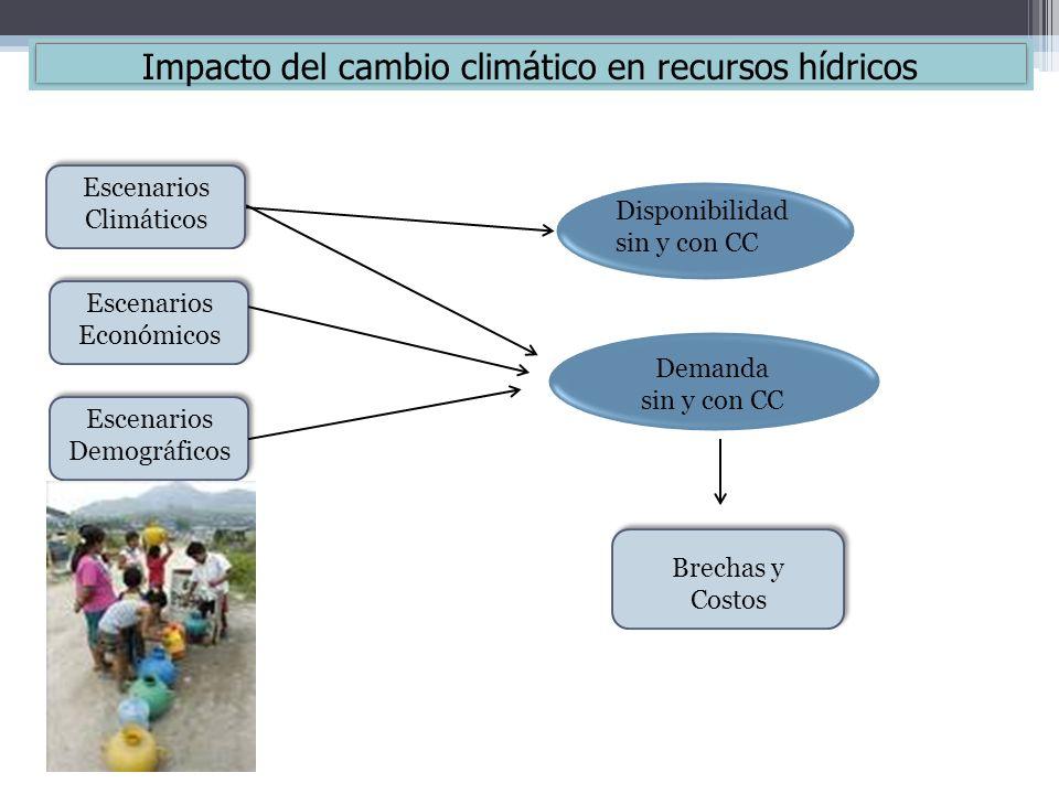 Escenarios Climáticos Escenarios Económicos Escenarios Demográficos Disponibilidad sin y con CC Demanda sin y con CC Brechas y Costos Impacto del camb