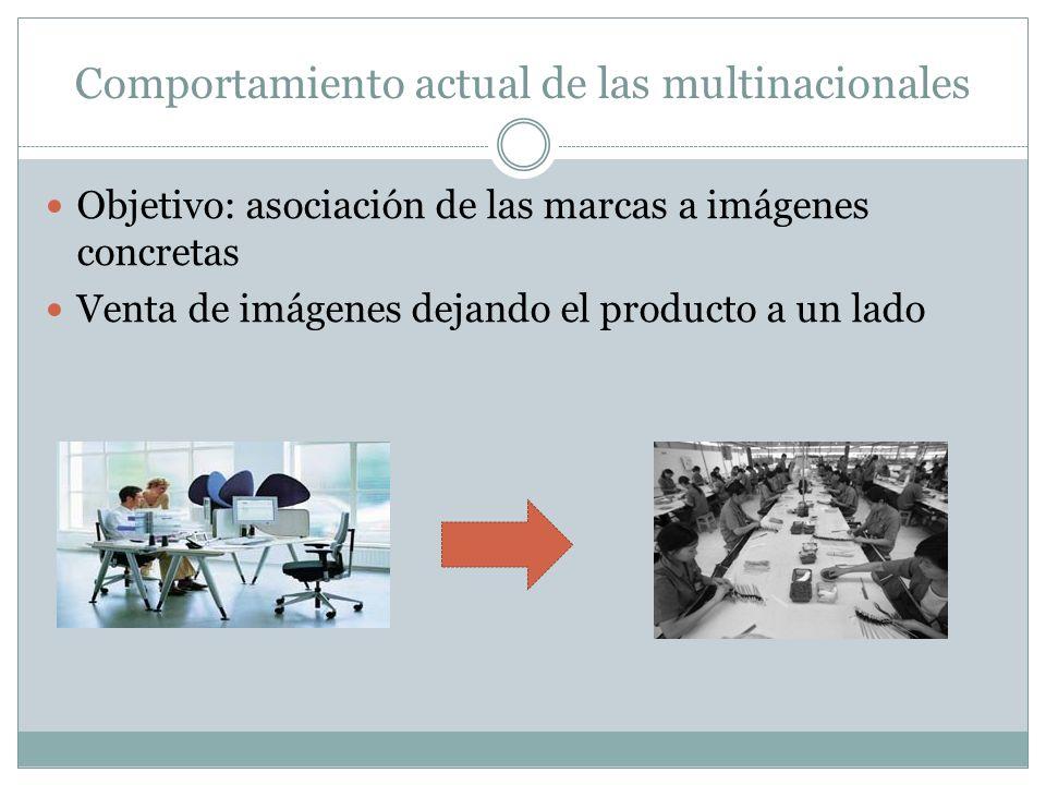 Comportamiento actual de las multinacionales Objetivo: asociación de las marcas a imágenes concretas Venta de imágenes dejando el producto a un lado