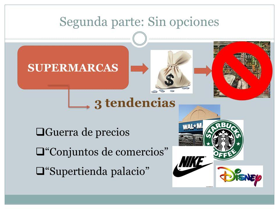 Segunda parte: Sin opciones SUPERMARCAS 3 tendencias Guerra de precios Conjuntos de comercios Supertienda palacio