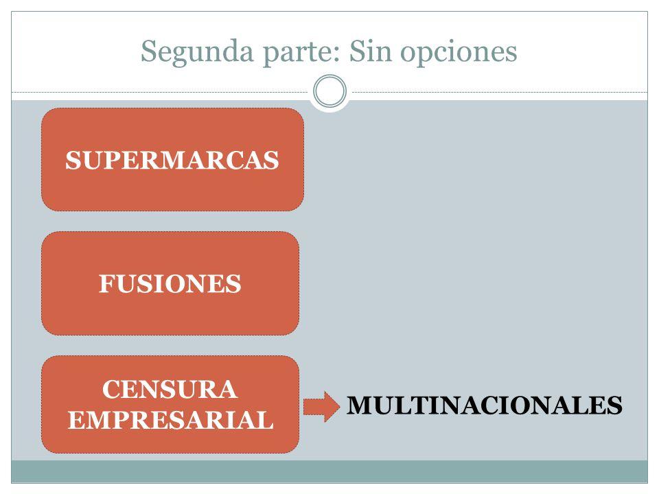Segunda parte: Sin opciones SUPERMARCAS FUSIONES CENSURA EMPRESARIAL MULTINACIONALES