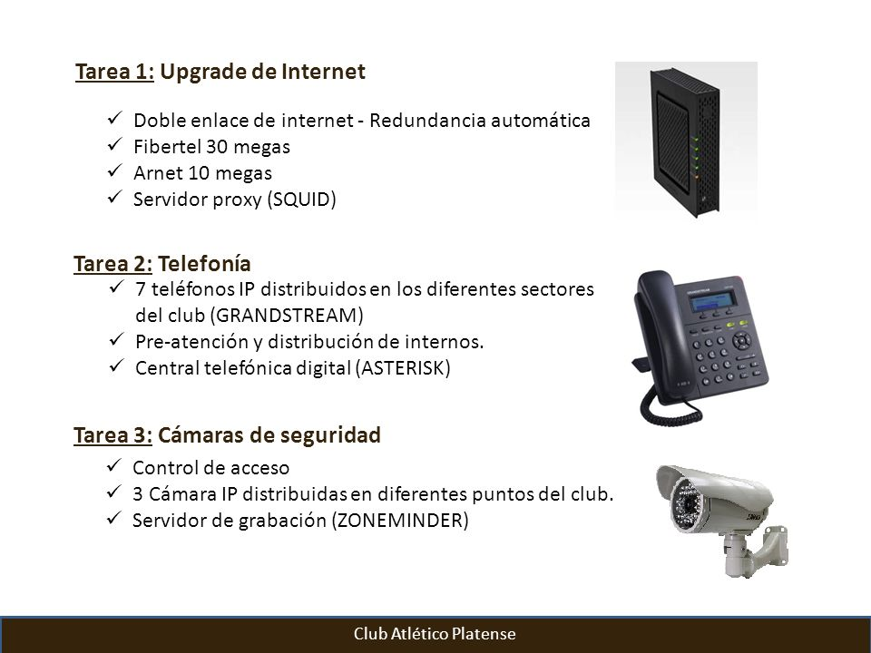 Tarea 1: Upgrade de Internet Doble enlace de internet - Redundancia automática Fibertel 30 megas Arnet 10 megas Servidor proxy (SQUID) Club Atlético P