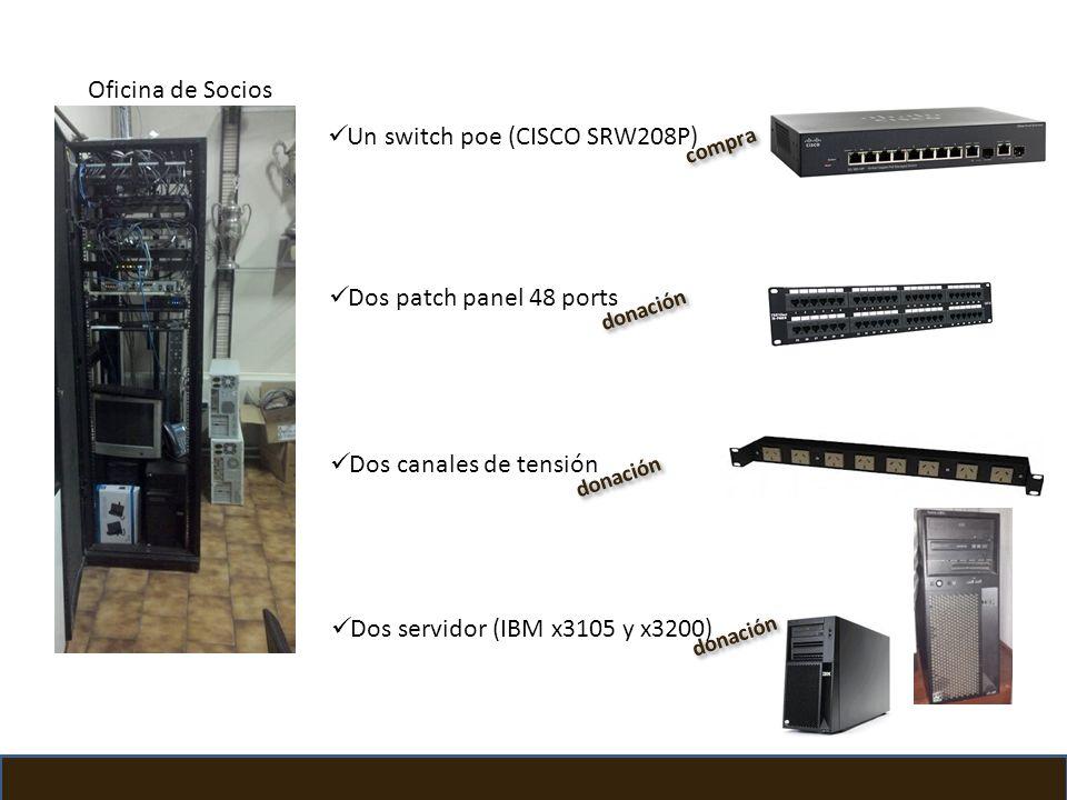 Un switch poe (CISCO SRW208P) Dos patch panel 48 ports Dos canales de tensión Dos servidor (IBM x3105 y x3200) Club Atlético Platense compra donación
