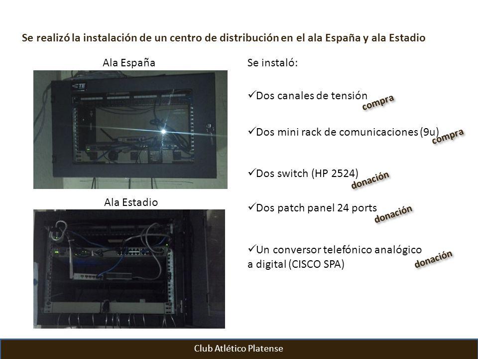 Club Atlético Platense Se realizó la instalación de un centro de distribución en el ala España y ala Estadio Se instaló: Dos canales de tensión Dos mi