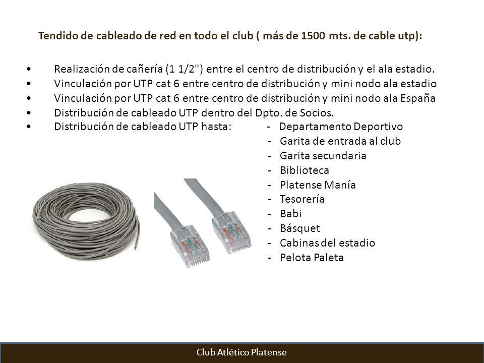 Tendido de cableado de red en todo el club ( más de 1500 mts. de cable utp): Realización de cañería (1 1/2