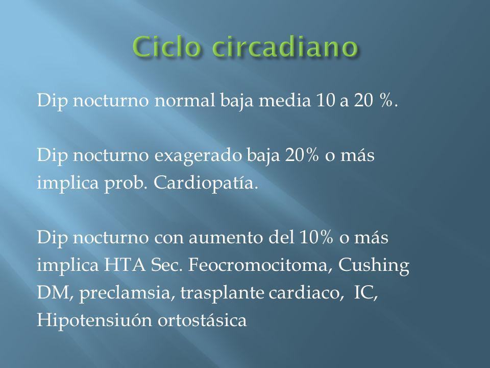 Dip nocturno normal baja media 10 a 20 %. Dip nocturno exagerado baja 20% o más implica prob. Cardiopatía. Dip nocturno con aumento del 10% o más impl