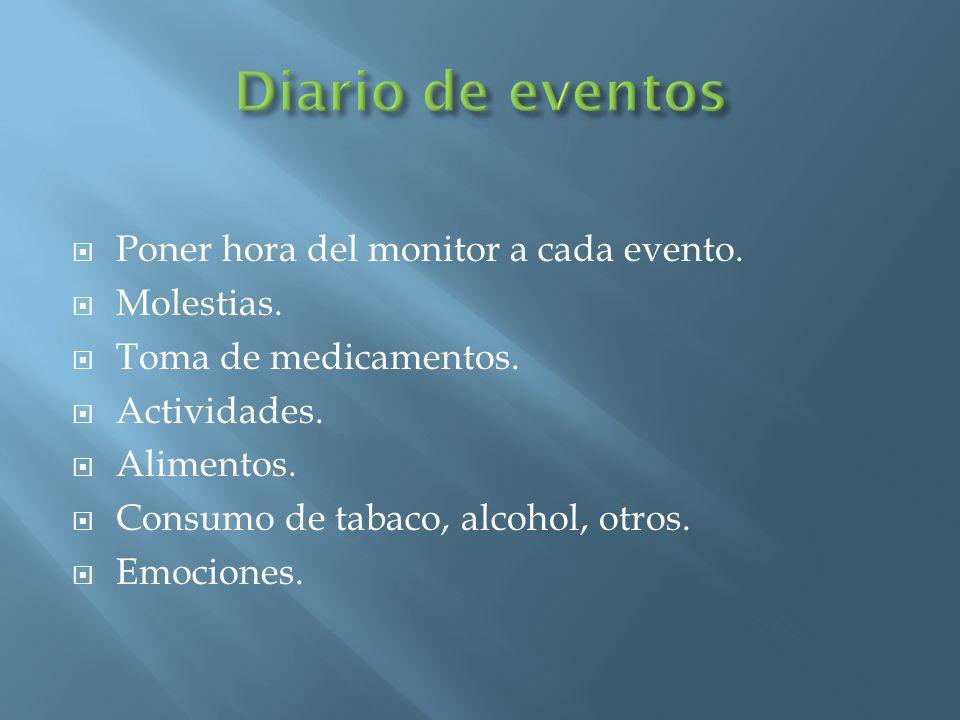 Poner hora del monitor a cada evento. Molestias. Toma de medicamentos. Actividades. Alimentos. Consumo de tabaco, alcohol, otros. Emociones.