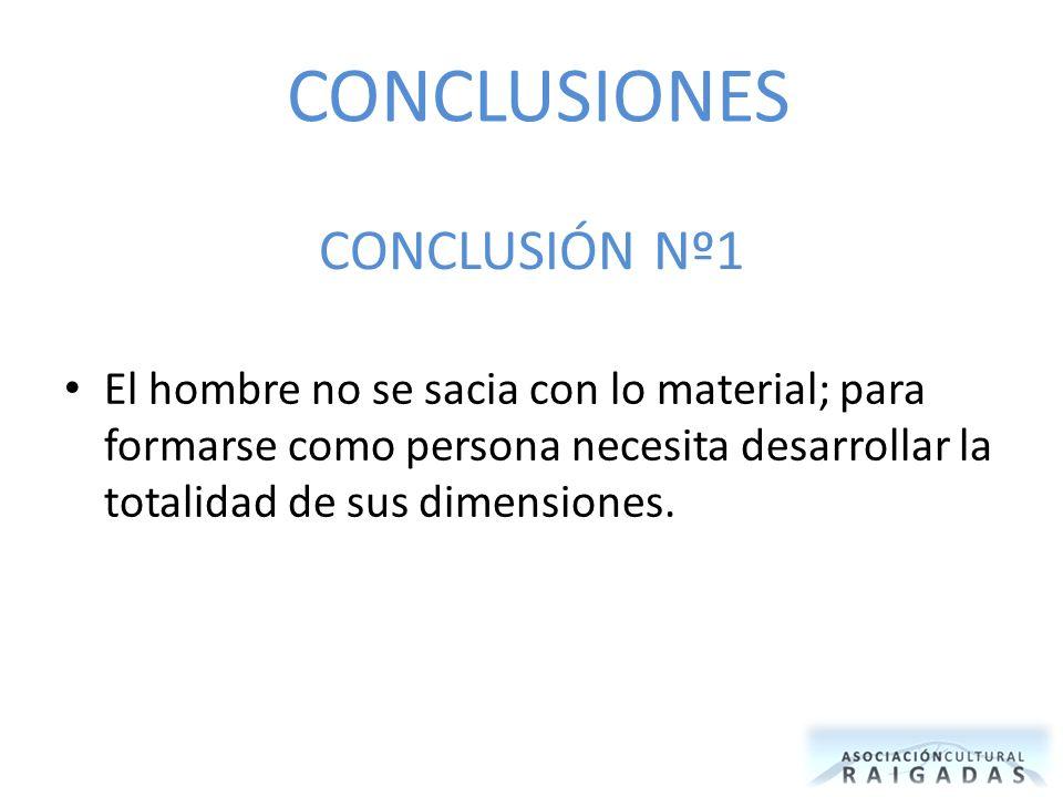 CONCLUSIÓN Nº1 El hombre no se sacia con lo material; para formarse como persona necesita desarrollar la totalidad de sus dimensiones. CONCLUSIONES