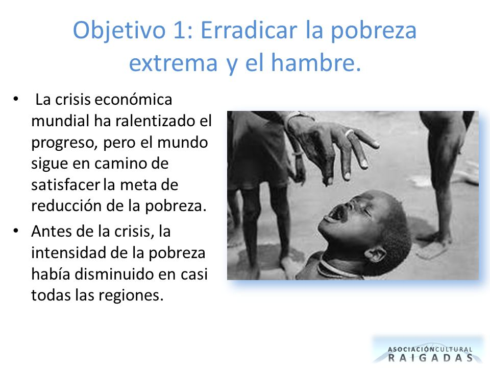 Objetivo 1: Erradicar la pobreza extrema y el hambre. La crisis económica mundial ha ralentizado el progreso, pero el mundo sigue en camino de satisfa