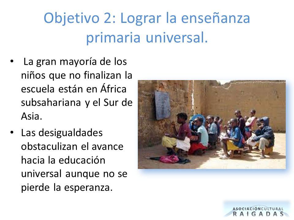 Objetivo 2: Lograr la enseñanza primaria universal. La gran mayoría de los niños que no finalizan la escuela están en África subsahariana y el Sur de