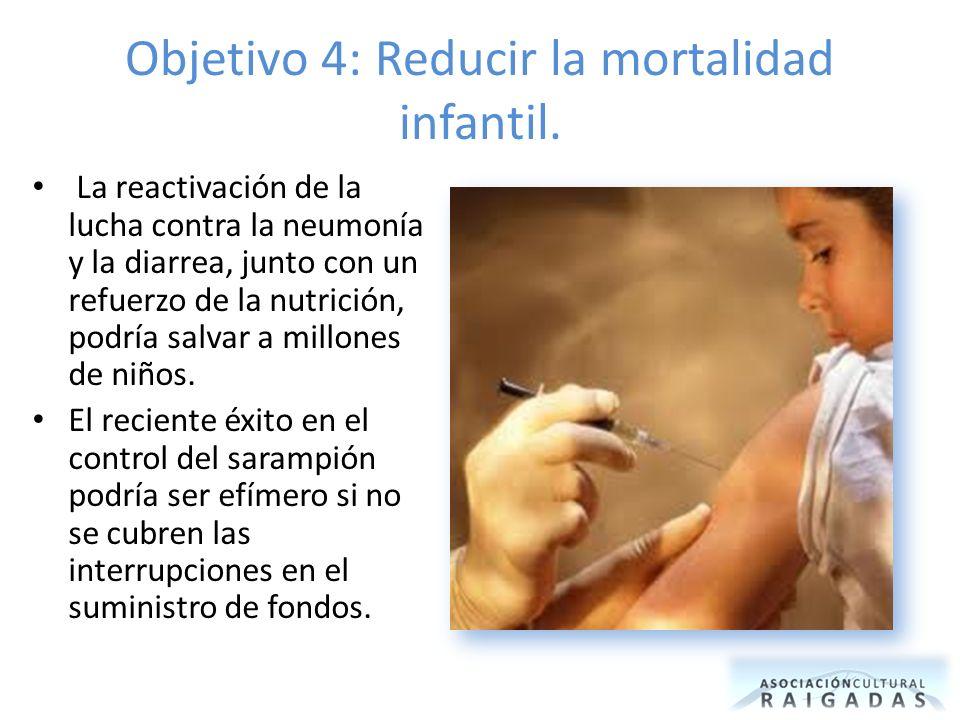 Objetivo 4: Reducir la mortalidad infantil. La reactivación de la lucha contra la neumonía y la diarrea, junto con un refuerzo de la nutrición, podría