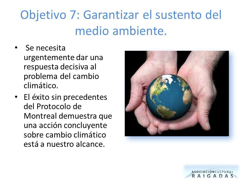 Objetivo 7: Garantizar el sustento del medio ambiente. Se necesita urgentemente dar una respuesta decisiva al problema del cambio climático. El éxito