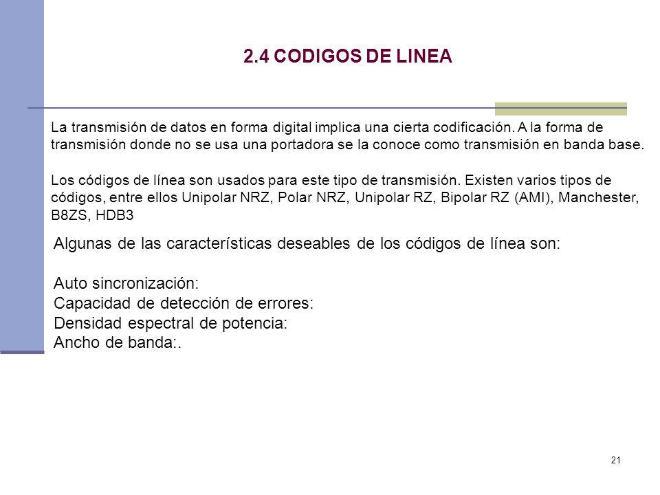 21 2.4 CODIGOS DE LINEA La transmisión de datos en forma digital implica una cierta codificación. A la forma de transmisión donde no se usa una portad