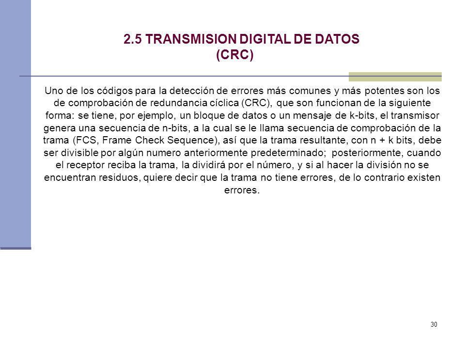 30 2.5 TRANSMISION DIGITAL DE DATOS (CRC) Uno de los códigos para la detección de errores más comunes y más potentes son los de comprobación de redund