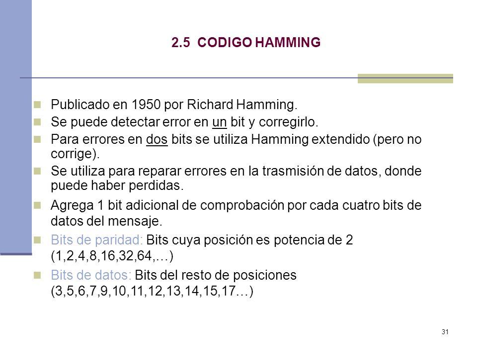 31 2.5 CODIGO HAMMING Publicado en 1950 por Richard Hamming. Se puede detectar error en un bit y corregirlo. Para errores en dos bits se utiliza Hammi
