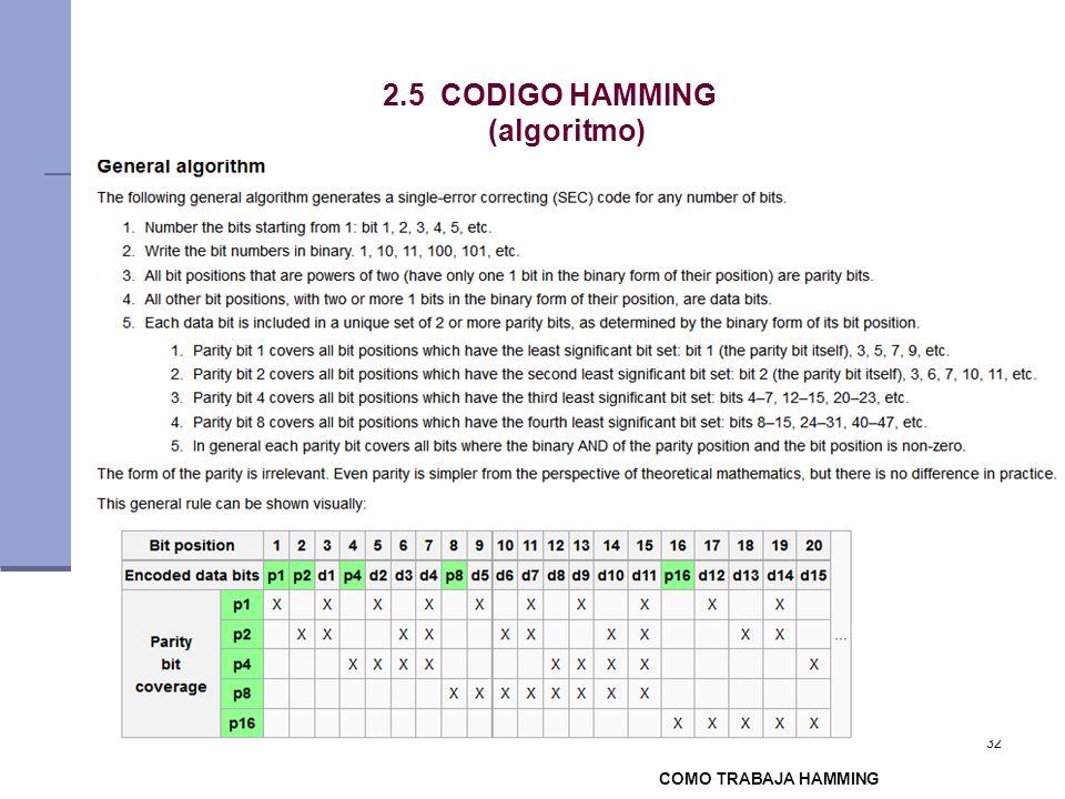 32 2.5 CODIGO HAMMING (algoritmo) COMO TRABAJA HAMMING