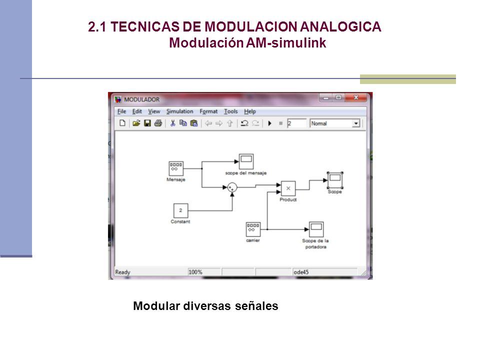 2.1 TECNICAS DE MODULACION ANALOGICA Modulación AM-simulink Modular diversas señales