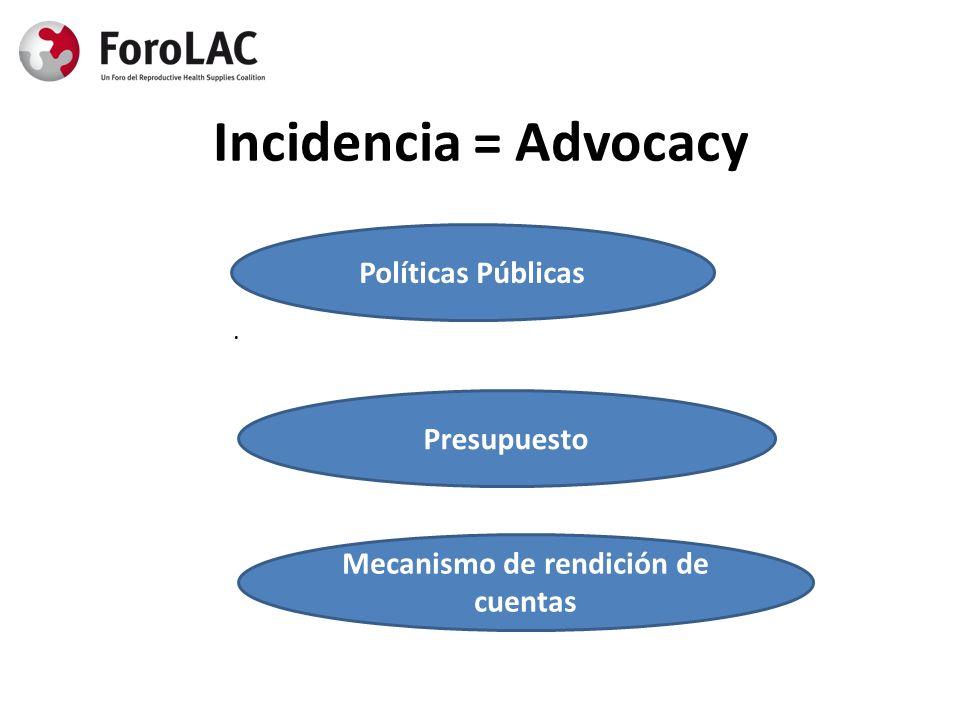 Incidencia = Advocacy. Políticas Públicas Presupuesto Mecanismo de rendición de cuentas
