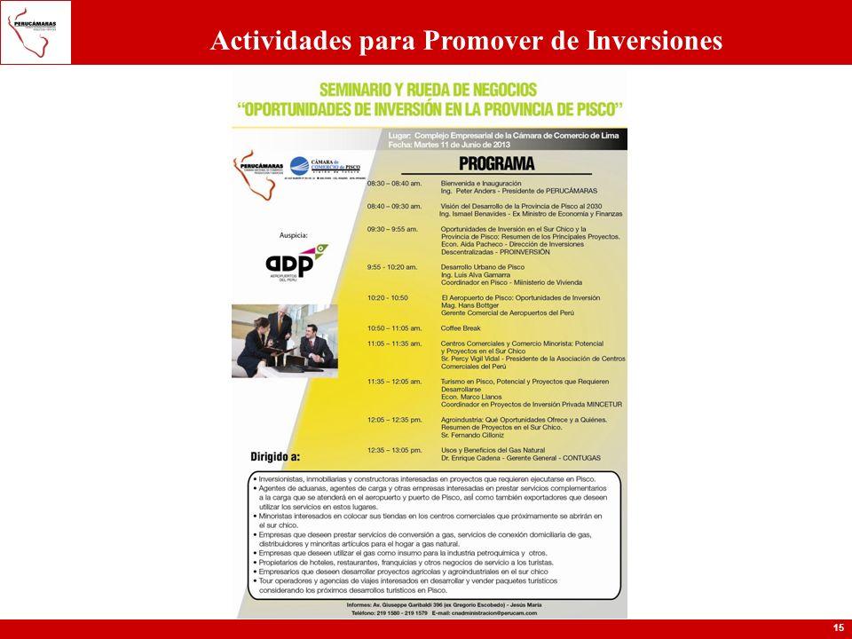 15 Actividades para Promover de Inversiones