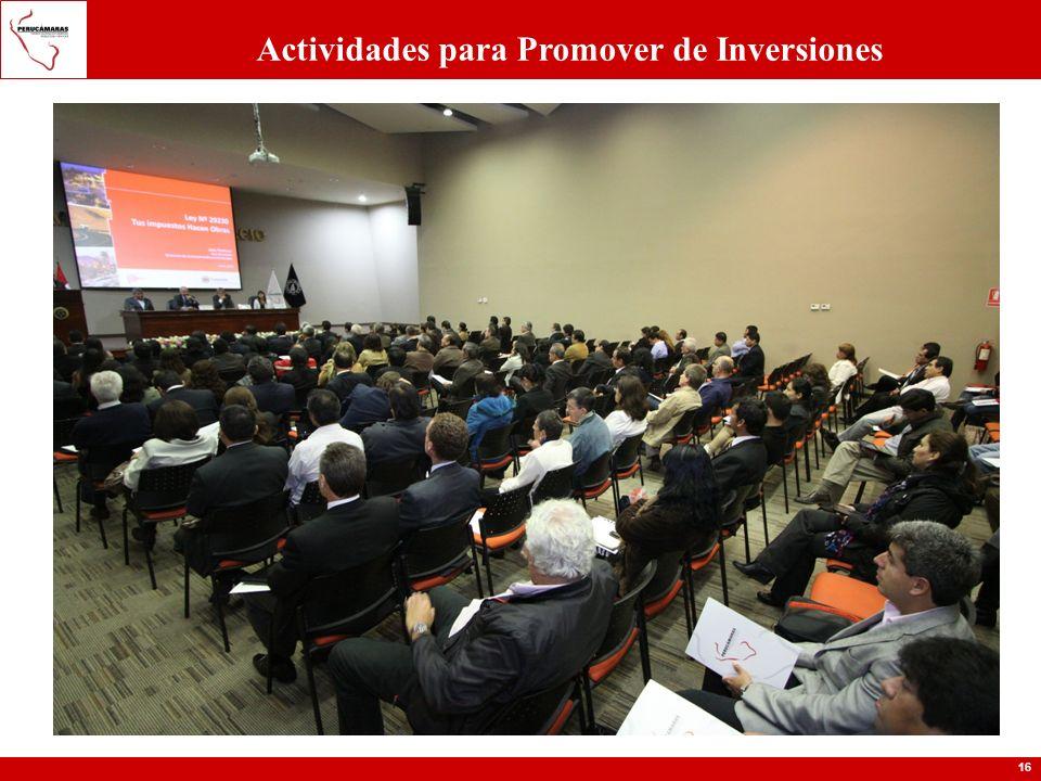 16 Actividades para Promover de Inversiones