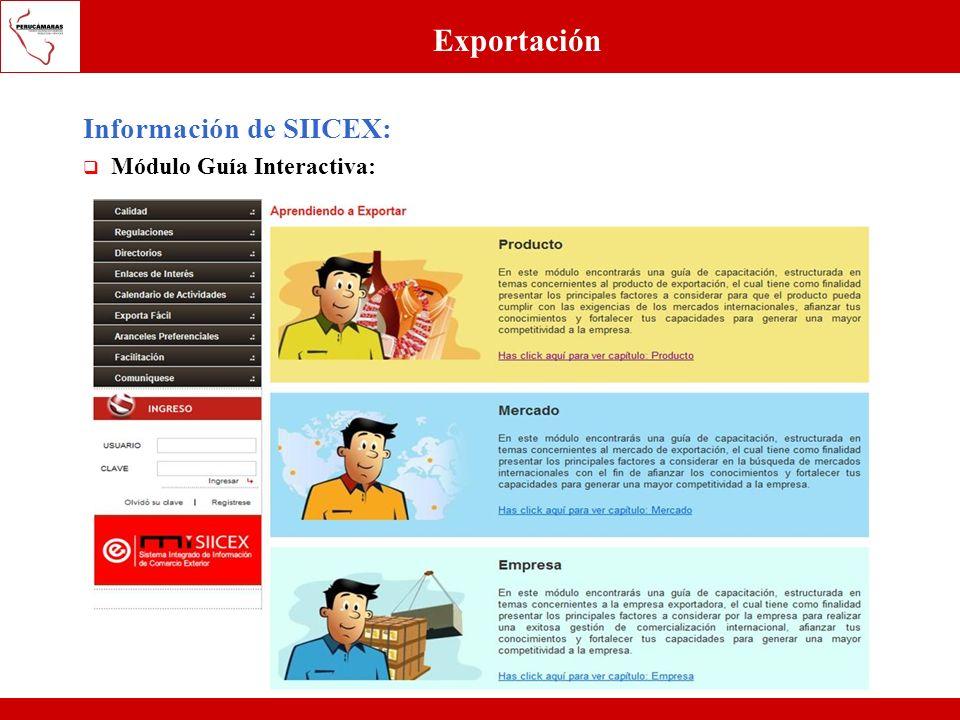 Exportación Información de SIICEX: Módulo Guía Interactiva: