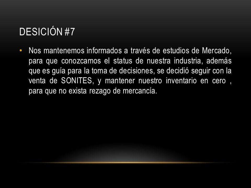 DESICIÓN #7 Nos mantenemos informados a través de estudios de Mercado, para que conozcamos el status de nuestra industria, además que es guía para la