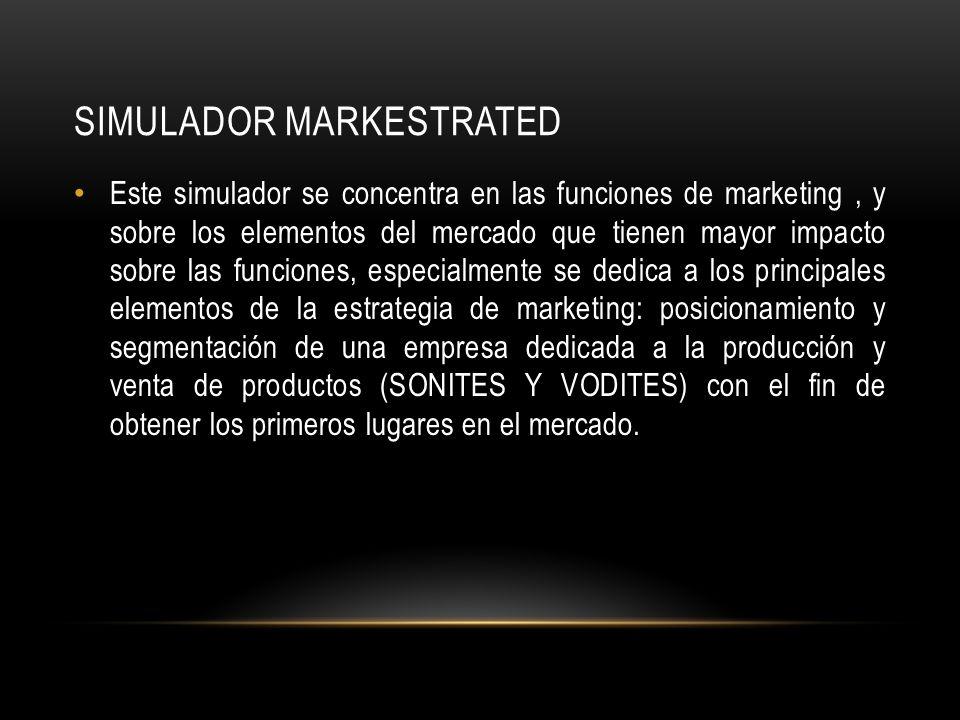 SIMULADOR MARKESTRATED Este simulador se concentra en las funciones de marketing, y sobre los elementos del mercado que tienen mayor impacto sobre las