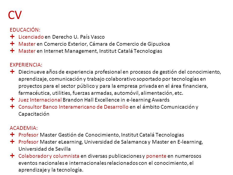 CV EDUCACIÓN: Licenciado en Derecho U. País Vasco Master en Comercio Exterior, Cámara de Comercio de Gipuzkoa Master en Internet Management, Institut