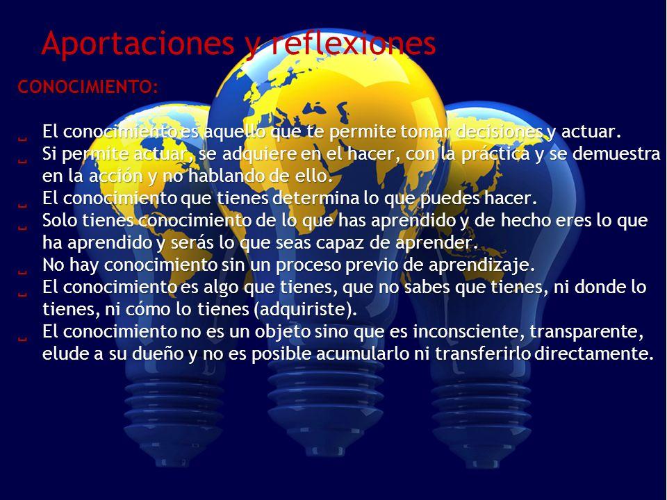 Aportaciones y reflexionesCONOCIMIENTO: El conocimiento es aquello que te permite tomar decisiones y actuar. El conocimiento es aquello que te permite
