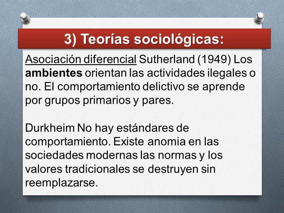 Asociación diferencial Sutherland (1949) Los ambientes orientan las actividades ilegales o no. El comportamiento delictivo se aprende por grupos prima