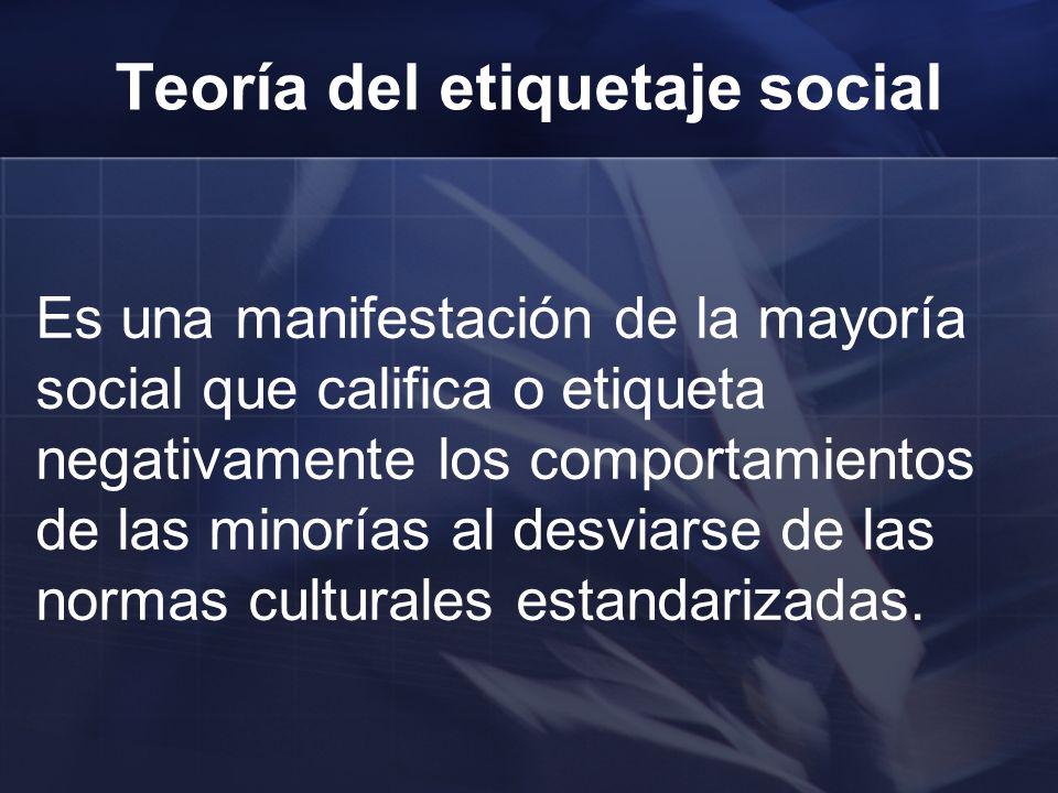 Es una manifestación de la mayoría social que califica o etiqueta negativamente los comportamientos de las minorías al desviarse de las normas cultura