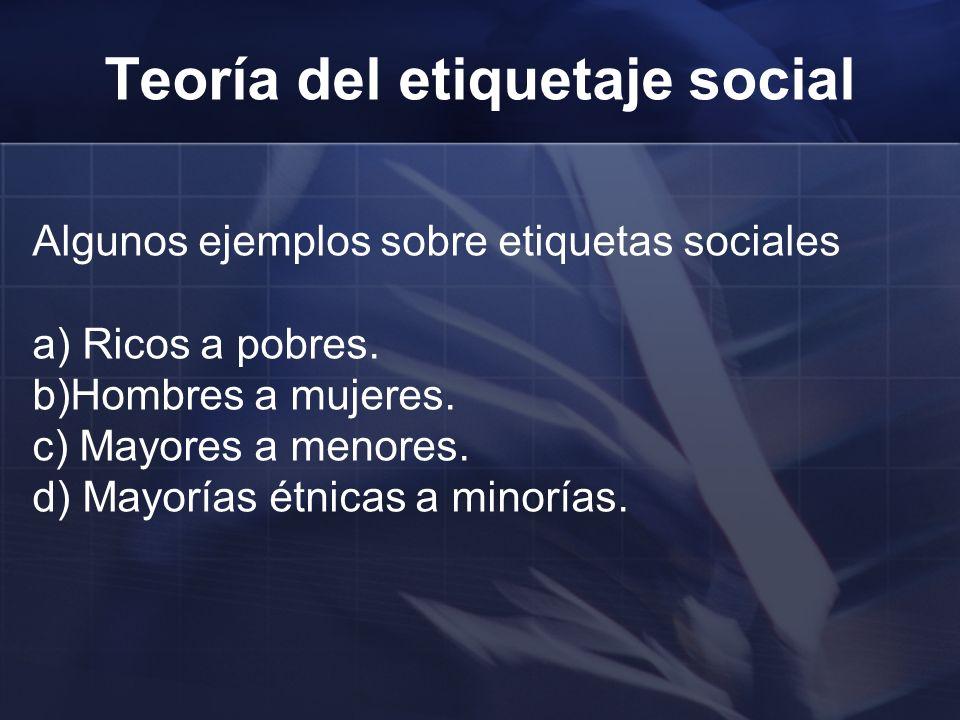 Algunos ejemplos sobre etiquetas sociales a) Ricos a pobres. b)Hombres a mujeres. c) Mayores a menores. d) Mayorías étnicas a minorías. Teoría del eti