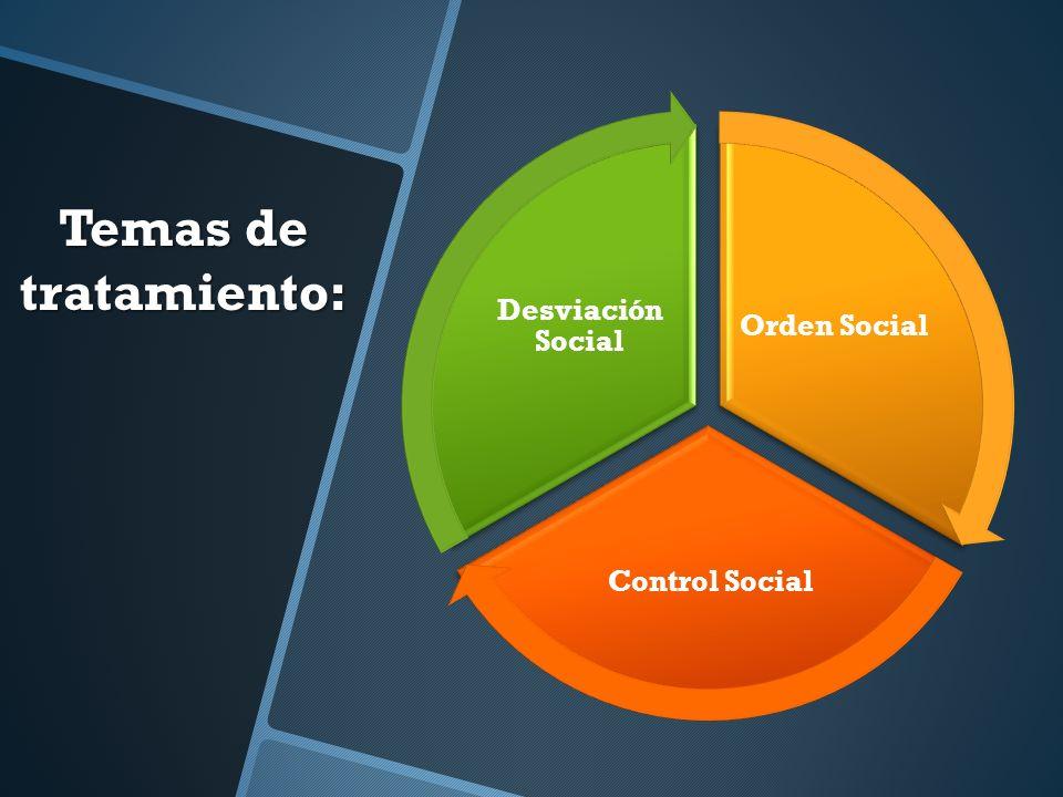 Temas de tratamiento: Orden Social Control Social Desviación Social