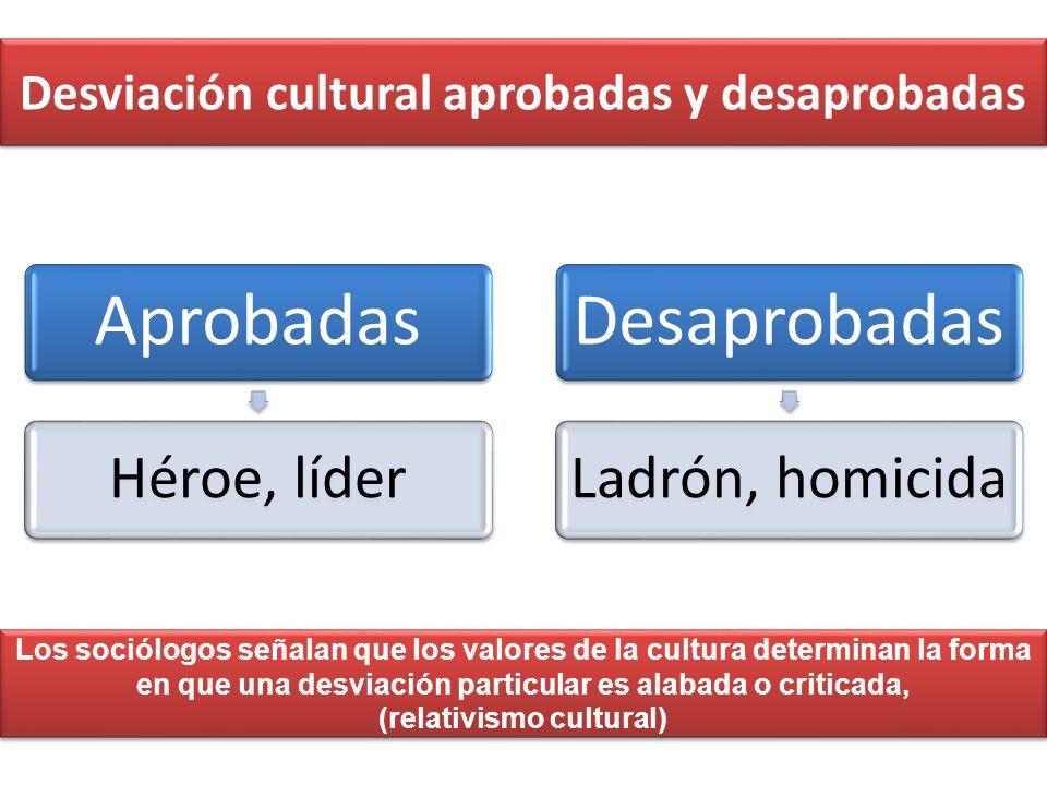 Desviación cultural aprobadas y desaprobadas Aprobadas Héroe, líder Desaprobadas Ladrón, homicida Los sociólogos señalan que los valores de la cultura
